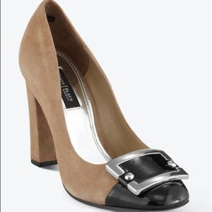 WHBM Camel Suede Black Toe with Buckle Theo Pumps